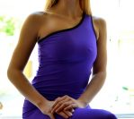 One shoulder top in bright violet2