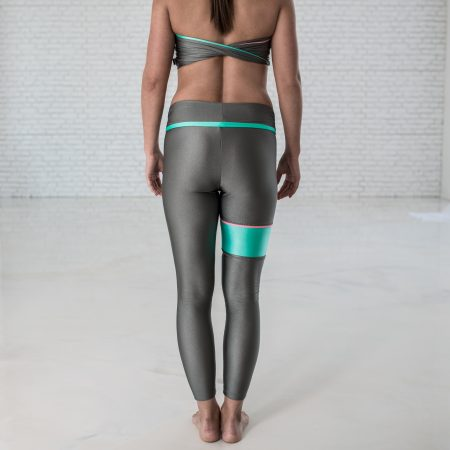 Leggings PASTEL colors grey with green