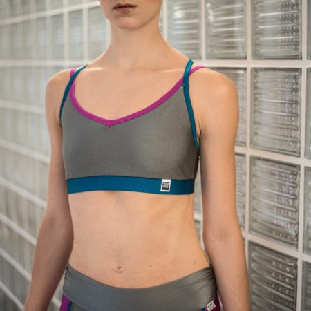 Ballet top GREY/pink/petrol